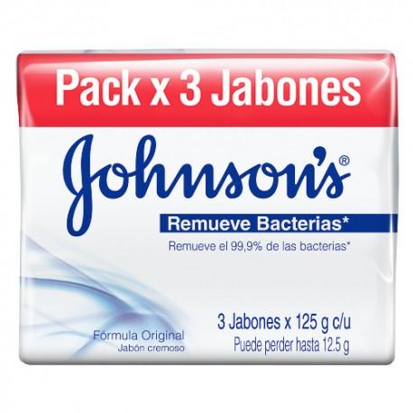 Imagen de JABON JHONSONS REMUEVE BACTERIA 3 X 125 GR